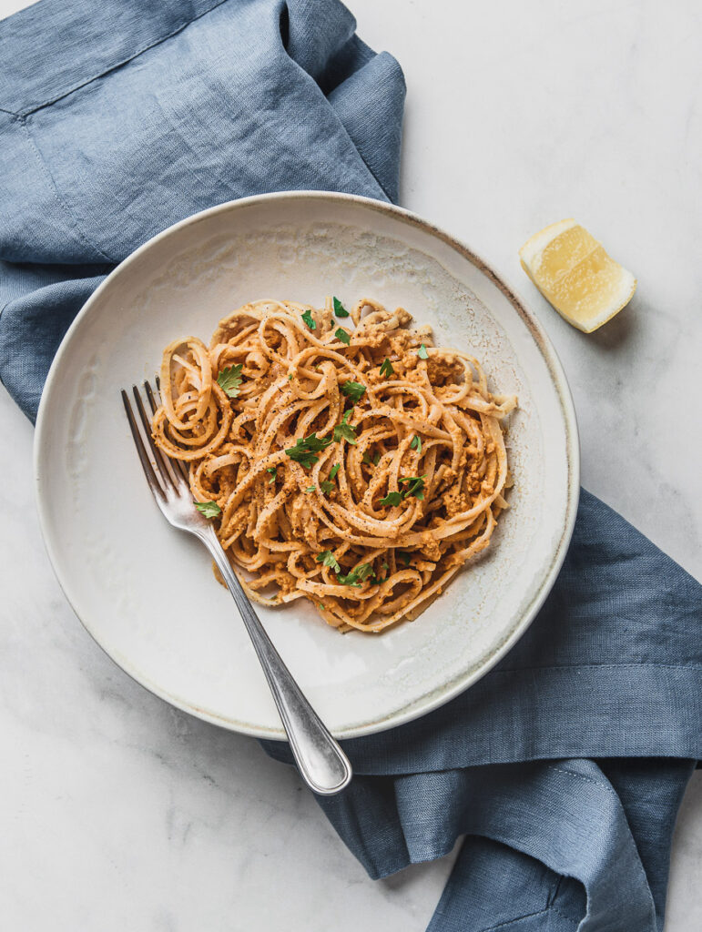 vegan carrot pesto pasta